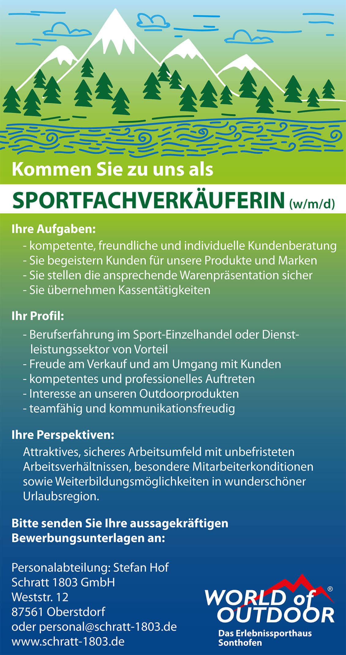 Karriere Stellenangebote World of Outdoor Sonthofen Allgäu wmd SportfachberaterIn Verkauf
